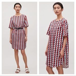 COS oversized printed shift dress with pockets